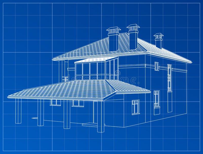 La perspective 3D rendent du wireframe de bâtiment illustration libre de droits