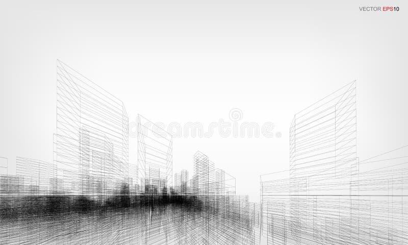 La perspective 3D rendent du wireframe de bâtiment Illustration de vecteur illustration libre de droits