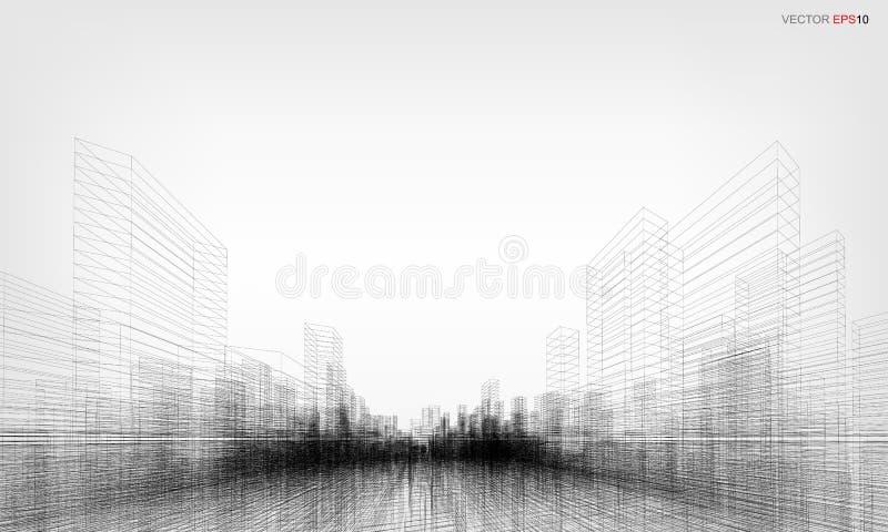 La perspective 3D rendent du wireframe de bâtiment Illustration de vecteur illustration de vecteur