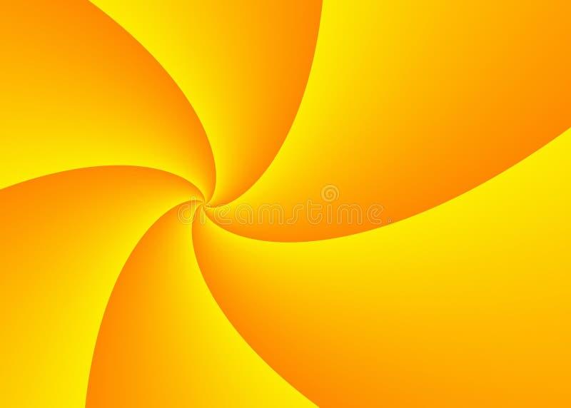La perspective de diminution du jaune large a courbé des rayons avec la station thermale de copie illustration libre de droits