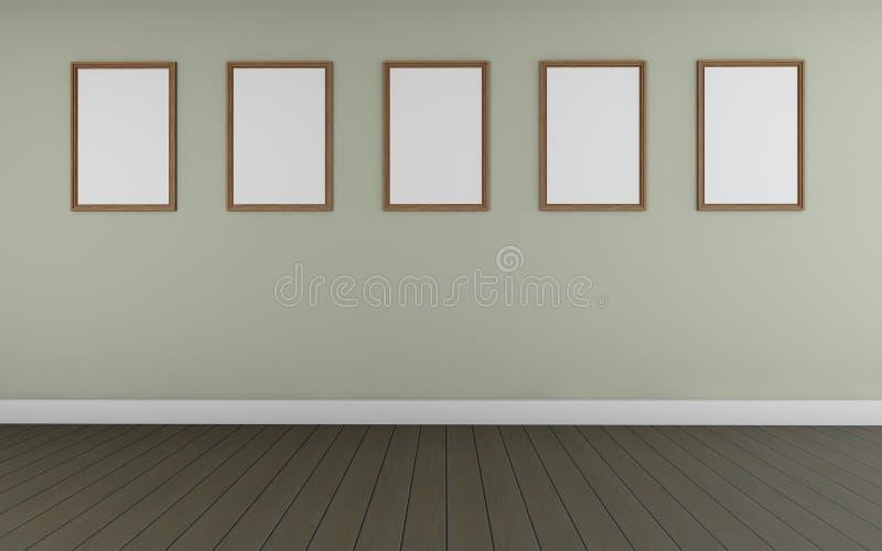 La perspective deux d'Art Gallery se dirigent et le monocom de cadre de tableau cinq illustration libre de droits