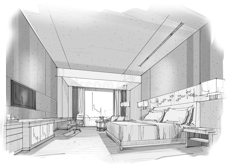 la perspective int rieure de croquis barre la chambre coucher illustration stock. Black Bedroom Furniture Sets. Home Design Ideas