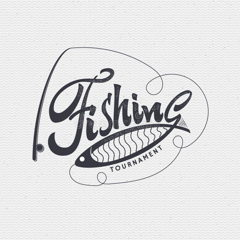 La pesca badges hechos a mano la muestra, diferenciada usando caligrafía y letras que puede ser utilizada como logotipo de la ins libre illustration