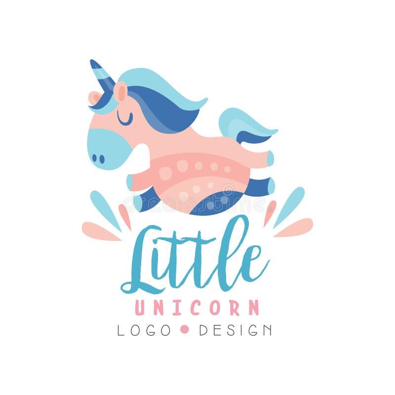 La petite conception de logo de licorne, emblème peut être employée pour le centre d'éducation d'enfants, club, magasin de bébé,  illustration libre de droits