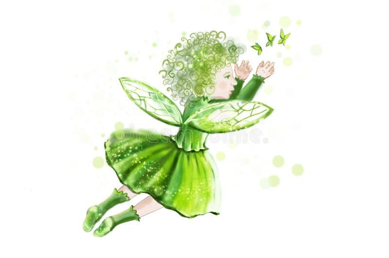 La petite fée fantastique sur un fond des coeurs, dans une robe verte crée la magie pour la Saint-Valentin illustration stock