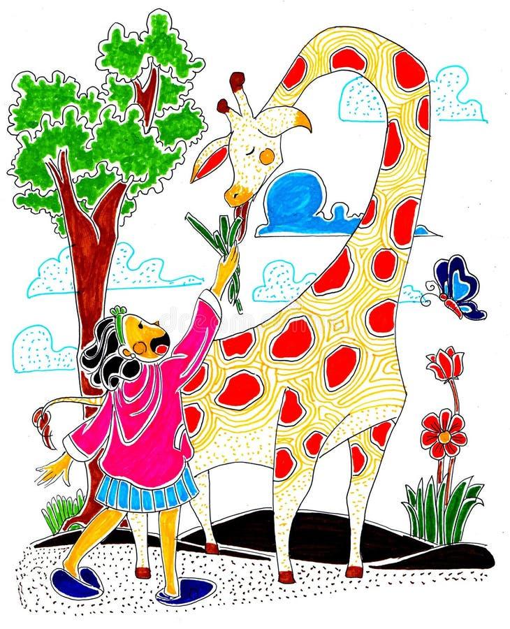 La petite fille alimente la girafe illustration de vecteur