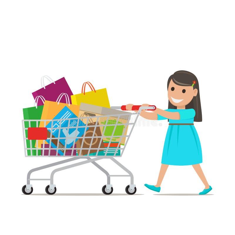 La petite fille avec le chariot à achats fait des achats illustration de vecteur