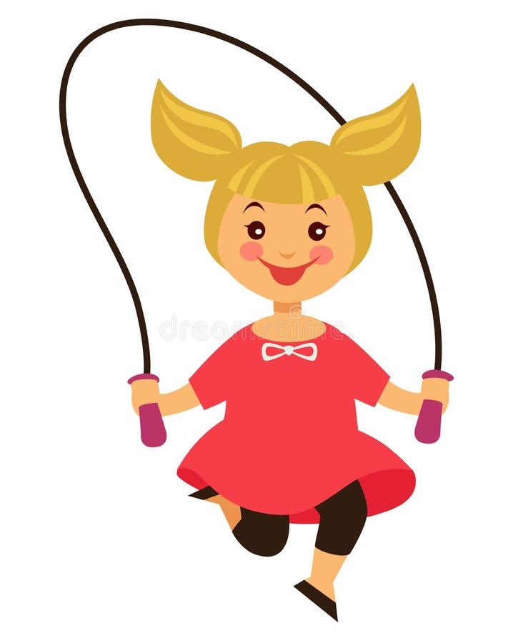 La petite fille blonde heureuse saute par-dessus la corde à sauter illustration de vecteur