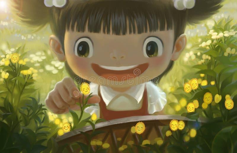 La petite fille en fleurs illustration libre de droits