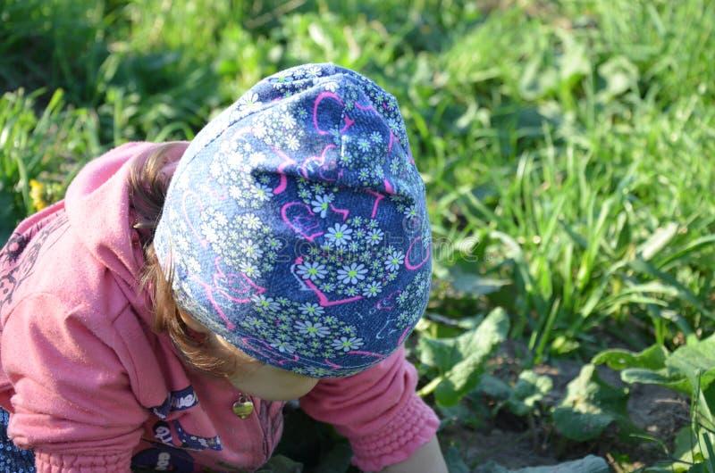 La petite fille espi?gle mignonne de sourire se tient sur l'herbe verte la fille que l'enfant en bas ?ge marche autour du lac app image stock