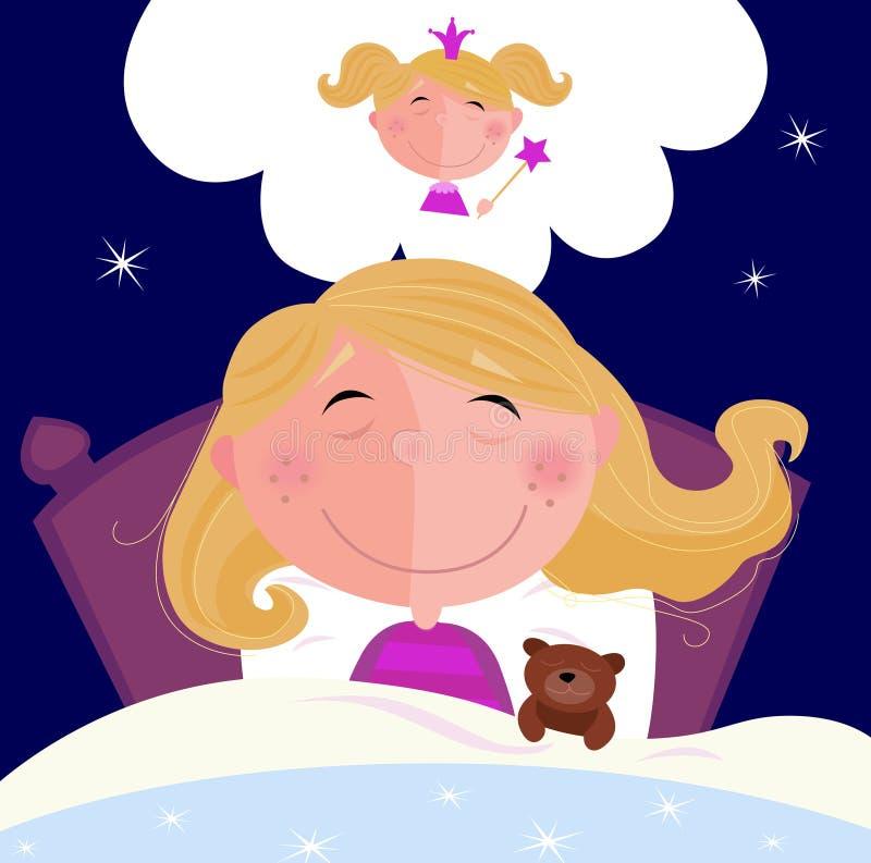 La petite fille est dormante et rêvante de la princesse illustration de vecteur