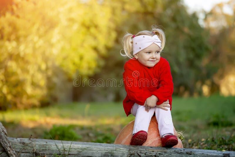 La petite fille est triste quand elle est assise sur une citrouille dans le jardin d'automne photographie stock libre de droits