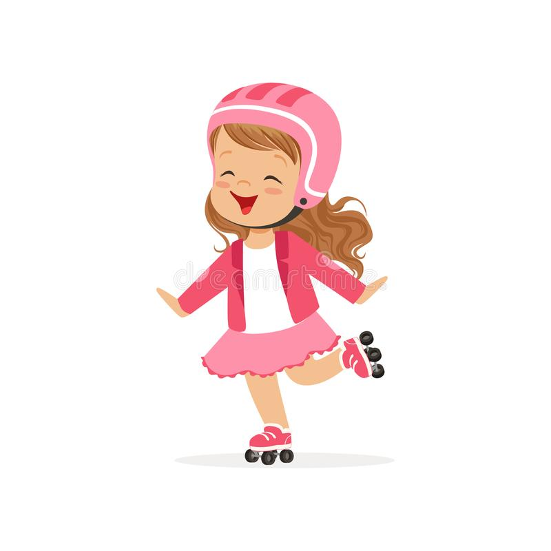 La petite fille gaie dans le casque rose d'usage et de protection patinent sur des rouleaux Caractère plat d'enfant de vecteur illustration libre de droits