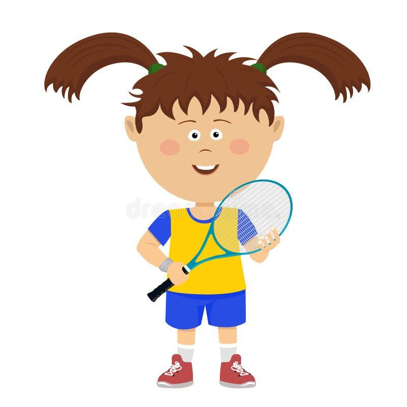 La petite fille mignonne avec de grands tresses pose avec la fusée de badminton sur le blanc illustration de vecteur