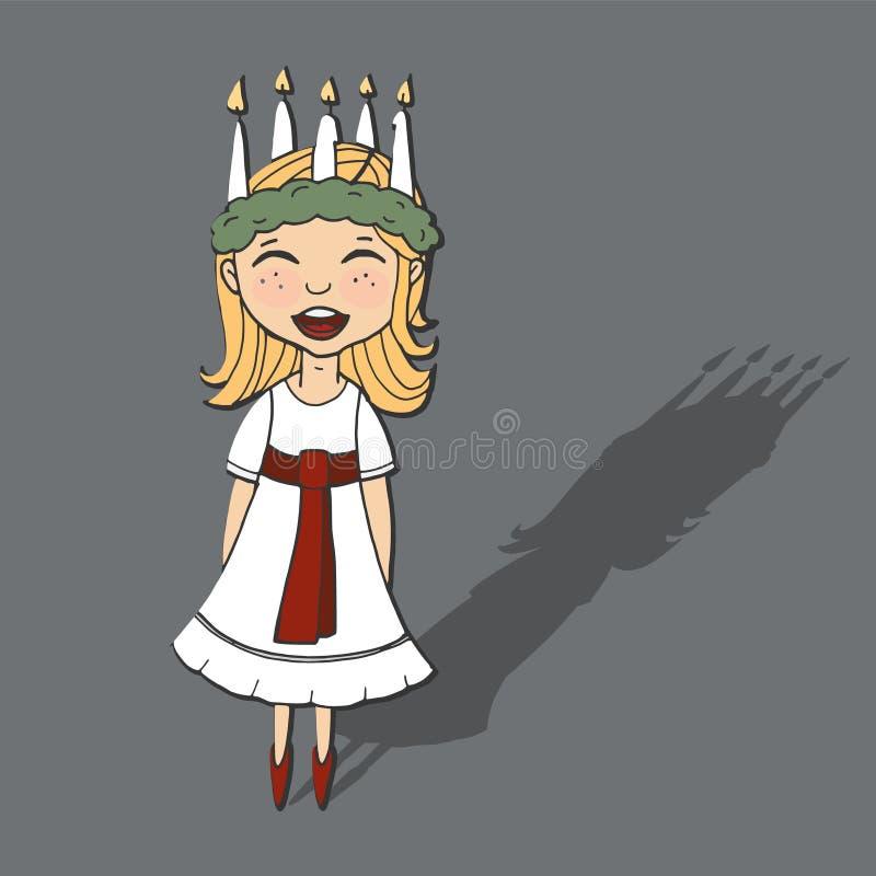 La petite fille mignonne avec la guirlande et la bougie couronnent, Sainte-Lucie illustration stock