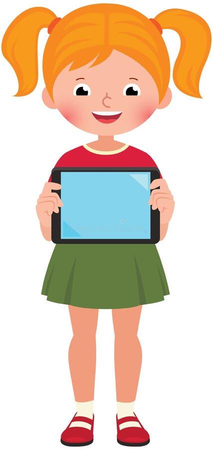 La petite fille mignonne heureuse dans la pleine croissance tient un comprimé d'ordinateur illustration de vecteur