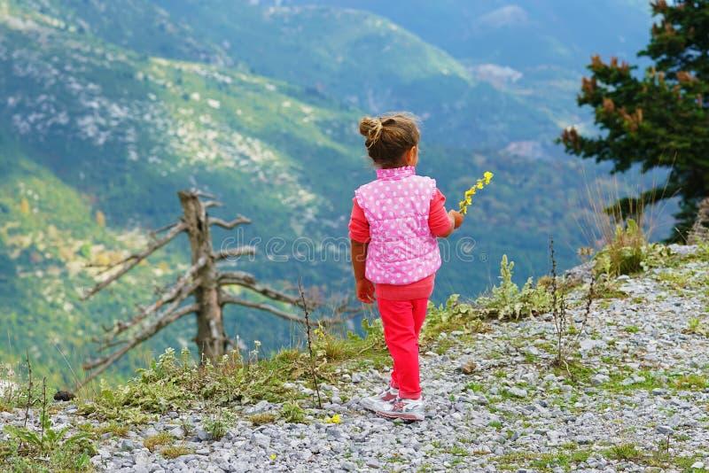 la petite fille regarde les montagnes image libre de droits