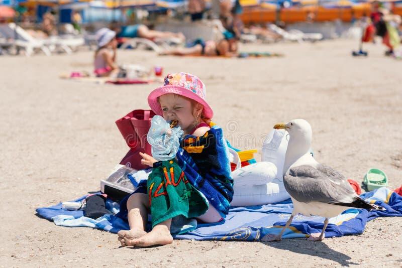 La petite fille s'assied sur la serviette sur la plage, mange Honey Baklava et évite la mouette qui observe l'action et veut vole image stock