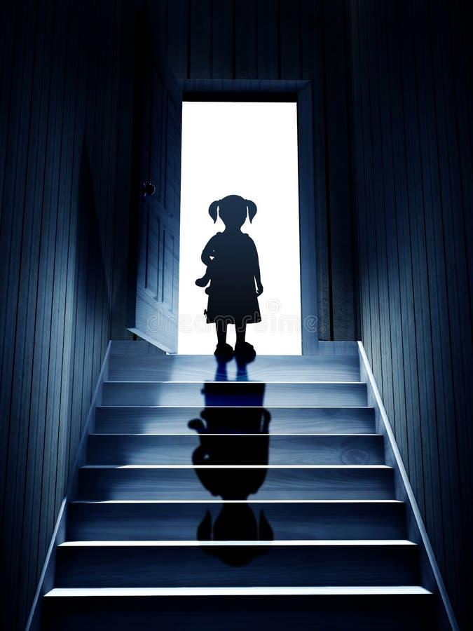 La petite fille sur des étapes menant à partir d'un sous-sol foncé pour ouvrir font illustration de vecteur