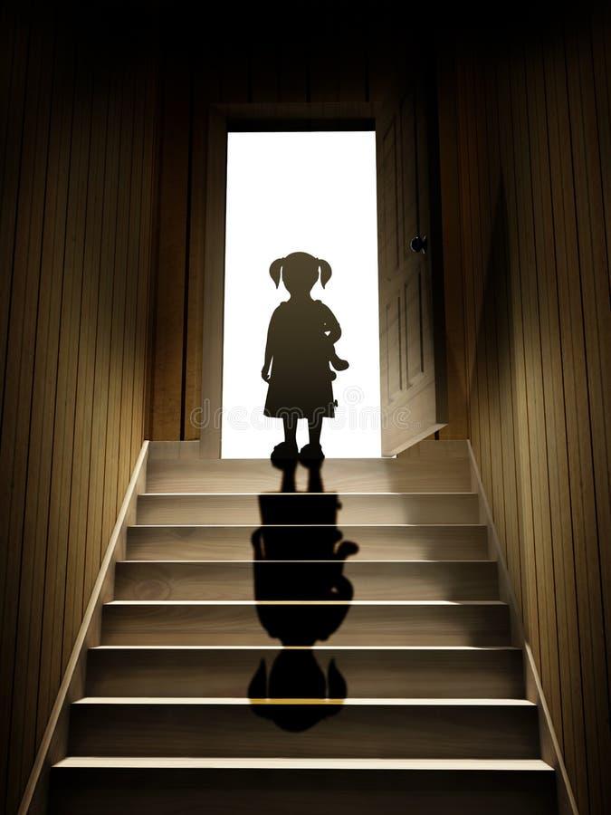La petite fille sur des étapes menant à partir d'un sous-sol foncé pour ouvrir font illustration stock
