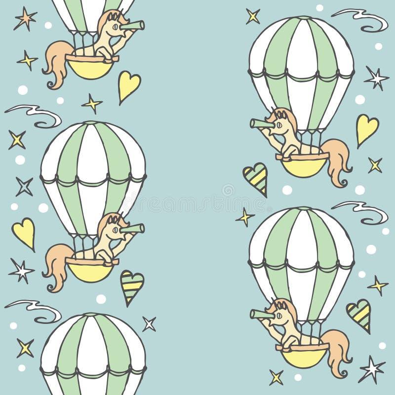 La petite licorne dans le ballon à air regarde dans un regard illustration libre de droits