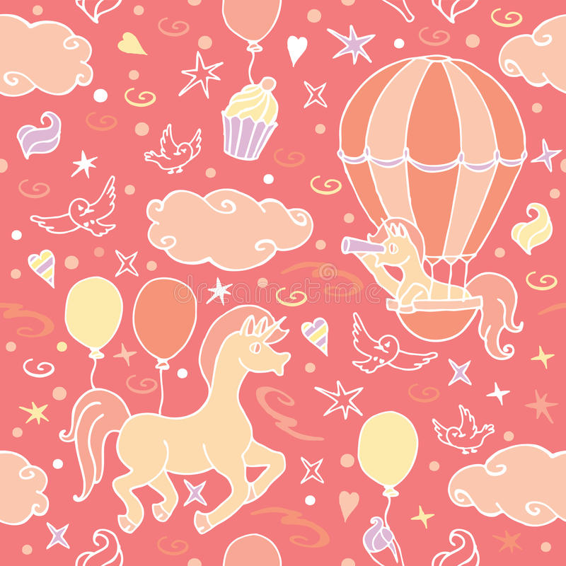 La petite licorne dans le ballon à air regarde dans un regard illustration stock