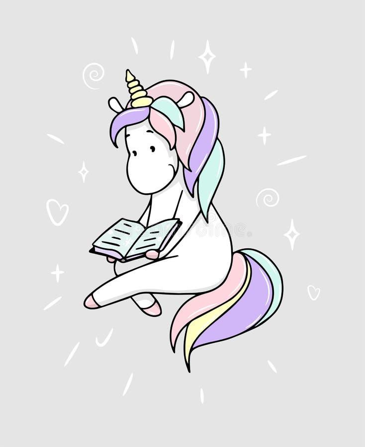La petite licorne mignonne lit un livre illustration de vecteur