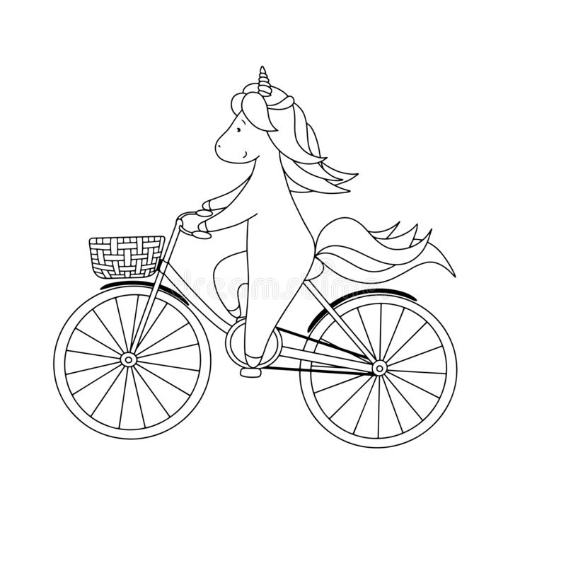 La petite licorne mignonne monte une bicyclette Illustration noire et blanche tirée par la main de vecteur pour livre de coloriag illustration de vecteur