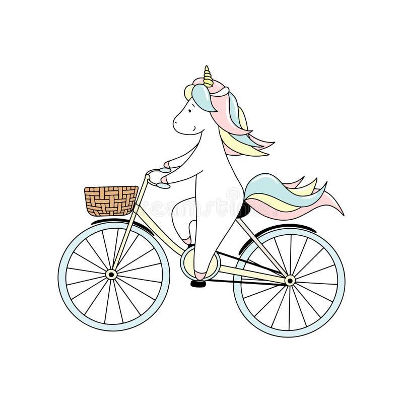 La petite licorne mignonne monte une bicyclette Illustration tir?e par la main de vecteur illustration de vecteur