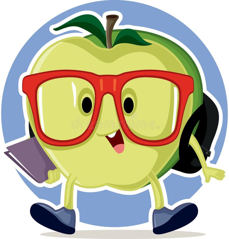 La petite pomme revient à la mascotte vectorielle de l'école illustration libre de droits