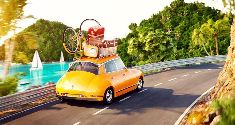 La petite rétro voiture mignonne avec les valises et la bicyclette sur le dessus va par la route illustration stock