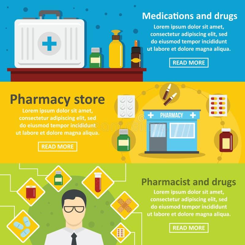 La pharmacie dope l'ensemble horizontal de bannière, style plat illustration libre de droits