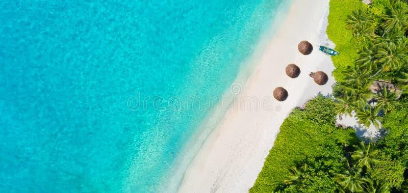 La photo aérienne des Maldives tropicales échouent sur l'île photographie stock libre de droits