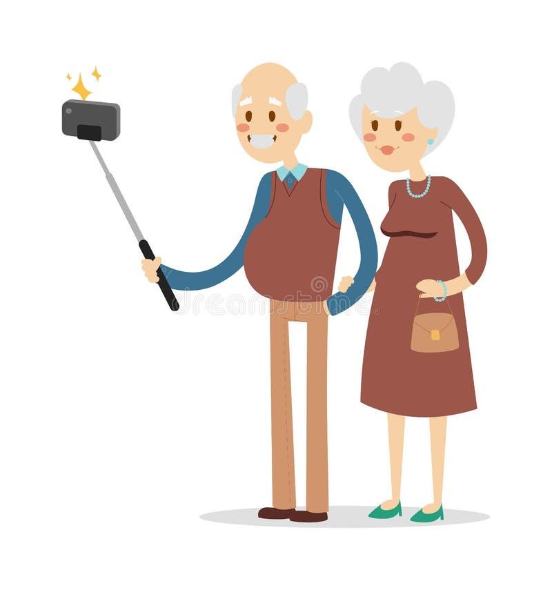 La photo de Selfie a tiré l'illustration de portrait de vecteur de grand-papa et de grand-maman illustration de vecteur