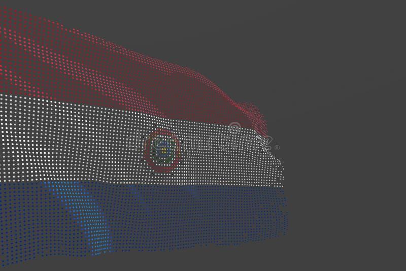 La photo moderne mignonne du drapeau d'isolement par Paraguay fait de points rougeoyants ondulent sur le fond gris - n'importe qu illustration stock