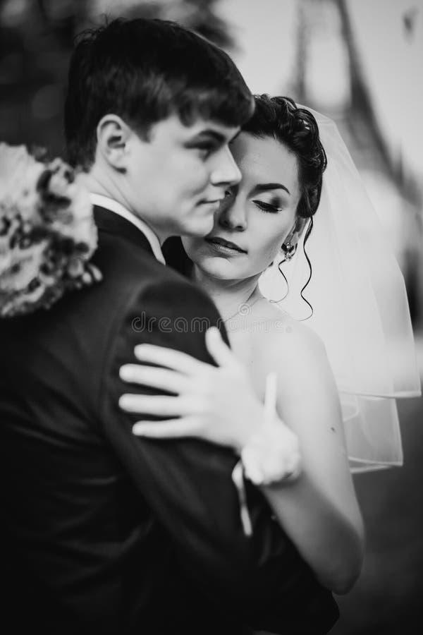 La photographie blanche noire épousant de beaux jeunes couples se tiennent sur la forêt de fond image stock