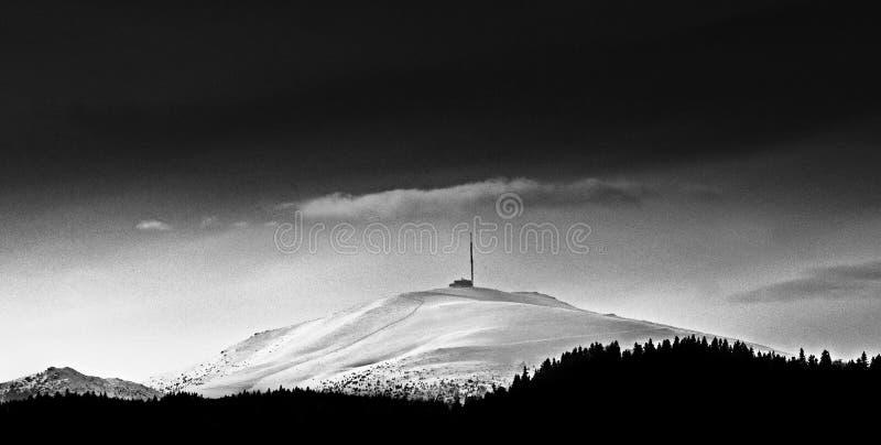 La photographie noire et blanche d'une neige a couvert la colline de forêt dense au premier plan image stock