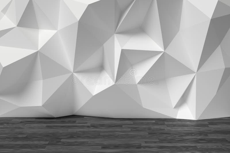 La pièce abstraite avec le blanc a fripé le mur et le parquet noir illustration stock