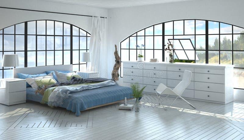 La pièce avec le lit de reine-taille comme 3D rendent images libres de droits