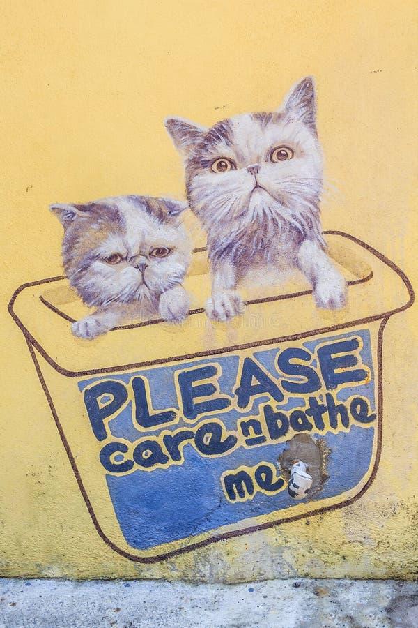 La pièce d'art de rue des 101 chatons perdus projettent illustration libre de droits