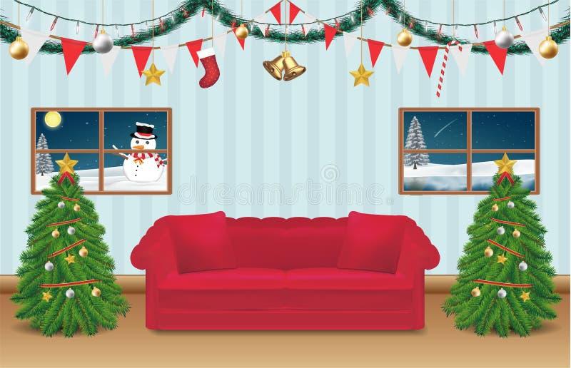 La pièce de fête de Noël de nuit a décoré le fond illustration de vecteur