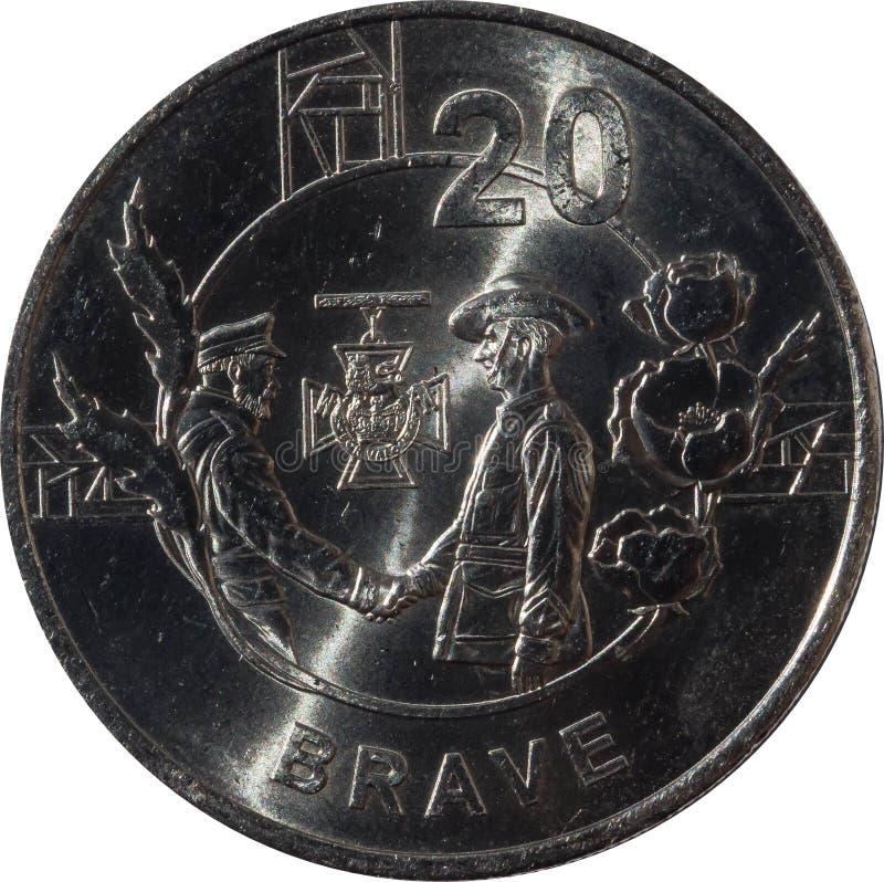 """La pièce de monnaie australienne de vingt-cent comporte """"Anzac Spirit - bravez """"2018, d'isolement sur le fond blanc photo stock"""