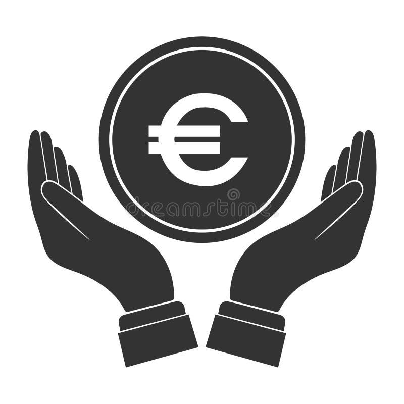 La pièce de monnaie avec un EURO symbole tombe dans la paume de votre main Conception plate illustration libre de droits