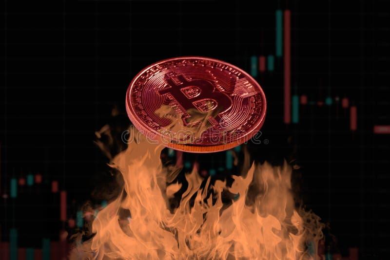 La pièce de monnaie de Bitcoin a grillé sur le feu avec le diagramme de chandelier comme fond images stock