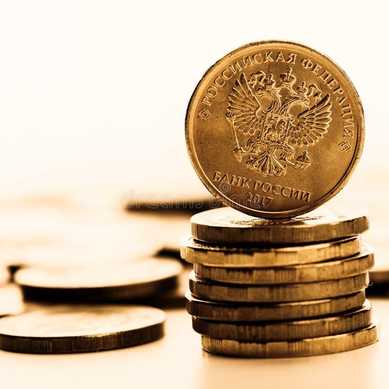 La pièce de monnaie de rouble russe images stock