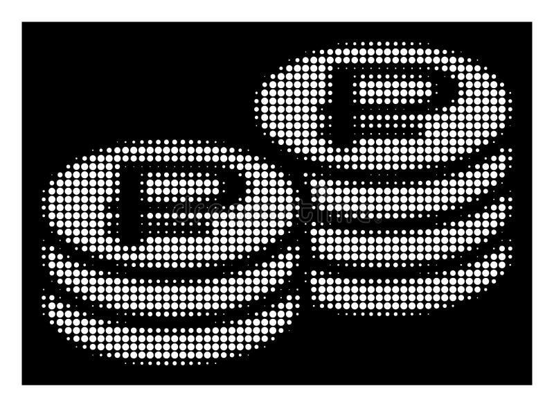 La pièce de monnaie tramée blanche de rouble empile l'icône illustration stock