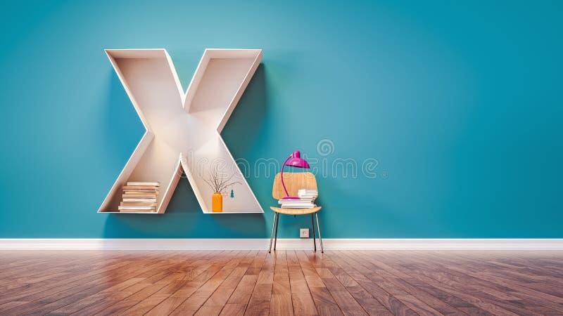 La pièce pour apprendre la lettre X a conçu une étagère illustration libre de droits