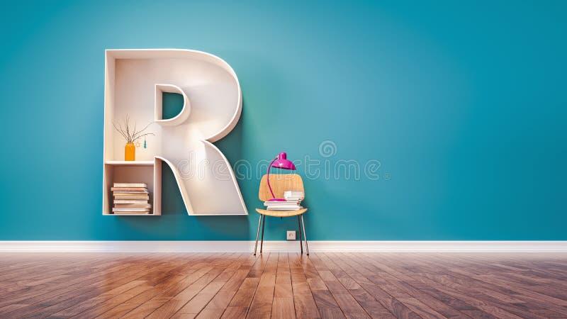La pièce pour apprendre la lettre R a conçu une étagère illustration libre de droits