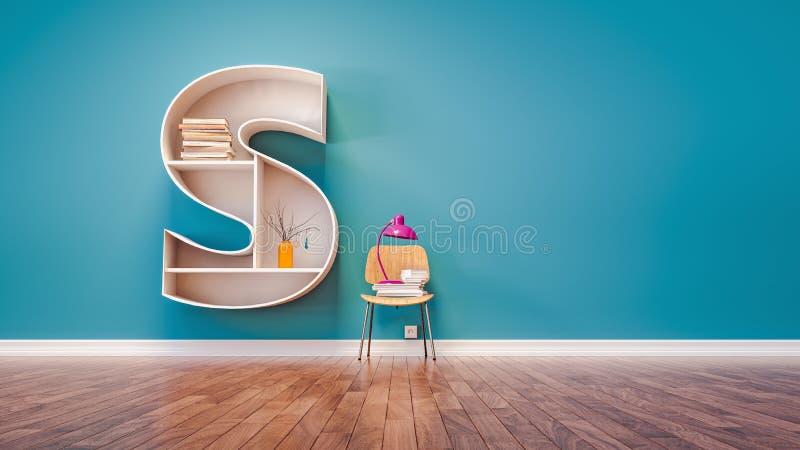 La pièce pour apprendre la lettre S a conçu une étagère illustration libre de droits