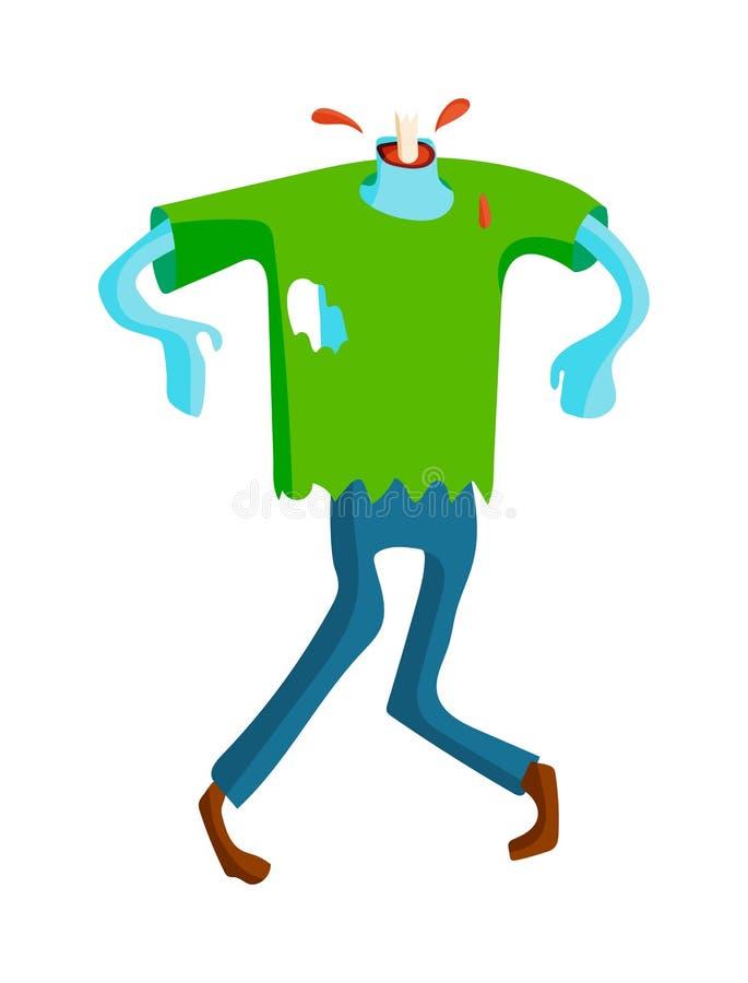 La pièce verte mignonne de jeu de caractères de zombi de bande dessinée de monstres de corps dirigent l'illustration illustration stock